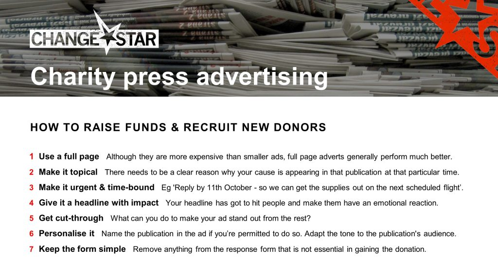 Charity press advertising